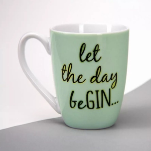 Gifts for Mom | Let The Day Be Gin Mug | Green Cup for Tea and Coffee