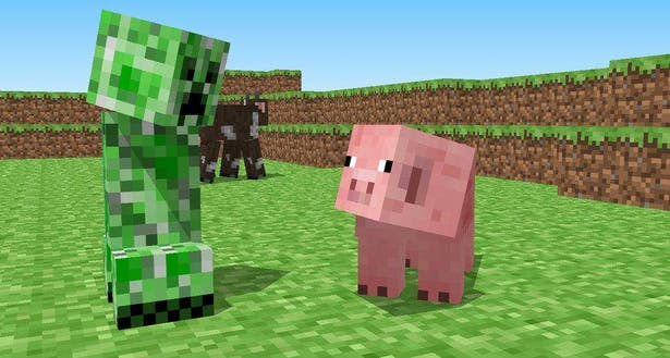 Minecraft Green Creeper looking at Pink Pig