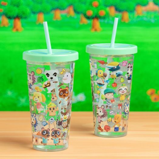 Animal Crossing Plastic Cup and Straw