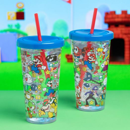Super Mario Plastic Cup and Straw