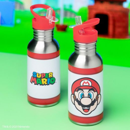Super Mario Metal Water Bottle with Straw